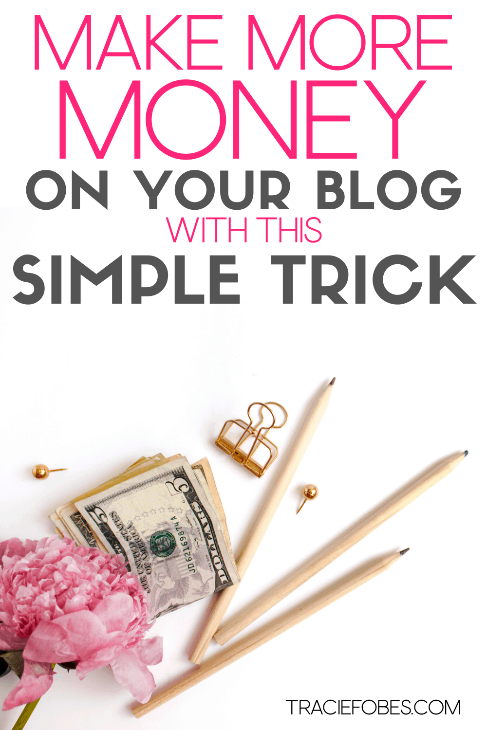Pencils, money to help with affiliate marketing